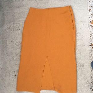 Split front topshop mustard skirt